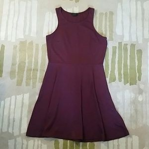 H&M Burgundy Fit & Flare Dress